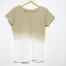 T-Shirt naturally dyed with Eucalyptus/White